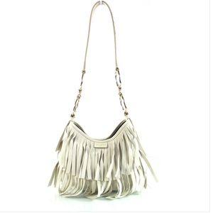 Rare YSL Ivory Fringe Shoulder Bag